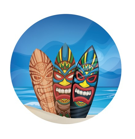 background design with Tiki warrior mask design surfboard on ocean beach 向量圖像