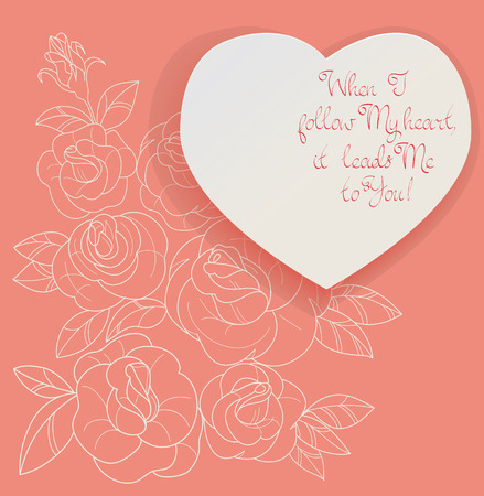 rosebuds: Elegant Vintage style background design of roses bouquet and romantic quotes. No font were used Illustration