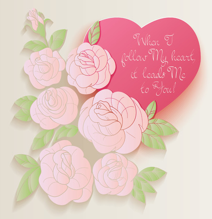 chabby: Elegant Vintage style background design of roses bouquet and romantic quotes. No font were used Stock Photo