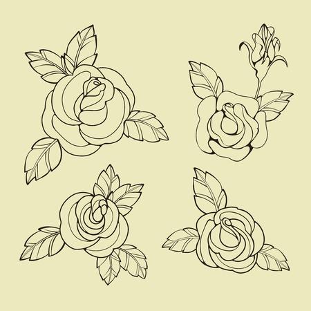 design Old School Tatto elements. Ink, inking symbols Stock Photo