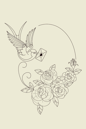 hearts and roses: design Old School Tatto elements. Ink, inking symbols Illustration