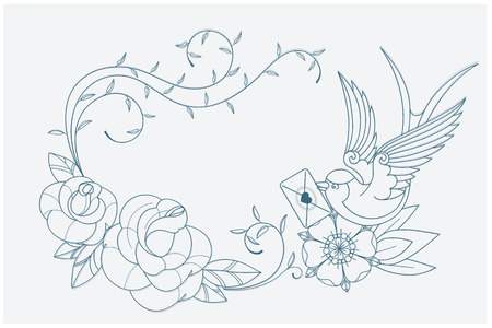 swallow bird: coloring page motif with old school tattoo love theme symbols. postcard proportion