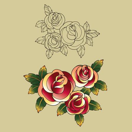 tatto: design Old School Tatto elements. Ink, inking symbols Illustration