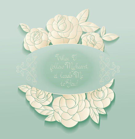 rosebud: Elegant Vintage style background design of roses bouquet and romantic quotes. No font were used Illustration