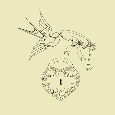 swallows: design Old School Tatto elements. Ink, inking symbols Illustration