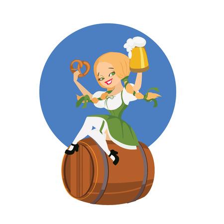 bocal: sorridente cartone animato ragazza carina birra pinup in dirndl sul pin di birra con bocal Bretzel formica