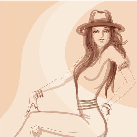 Mode-Illustration, Design entho Chic-Stil Mädchen Standard-Bild - 44198881