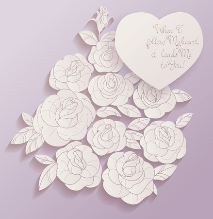 rosebud: Elegant Vintage style background design of roses bouquet and romantic quotes. No font were used Stock Photo