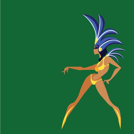 mid century modern: flat vintage background design dancing samba queen