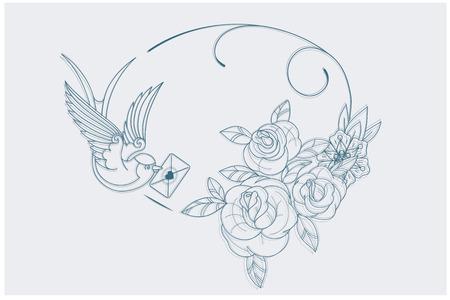 tatouage oiseau: Coloriage motif avec de vieux symboles de th�me de l'amour de tatouage de l'�cole. proportion postale