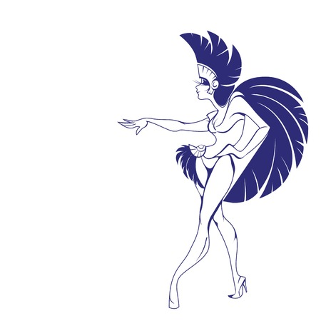 mid century modern: silhouette background design with dancing samba queen