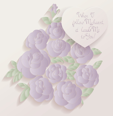 chabby: Elegant Vintage style background design of roses bouquet and romantic quotes. No font were used Illustration