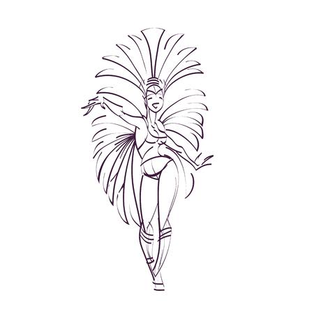 entertainer: flat vintage background design dancing samba queen