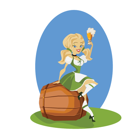 bocal: smiling cartoon cute pinup beer girl in dirndl  on pin of beer with bocal ant bretzel Illustration