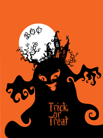 hallowen: Card background design with Boo, Trick or Treat letterind and symbols