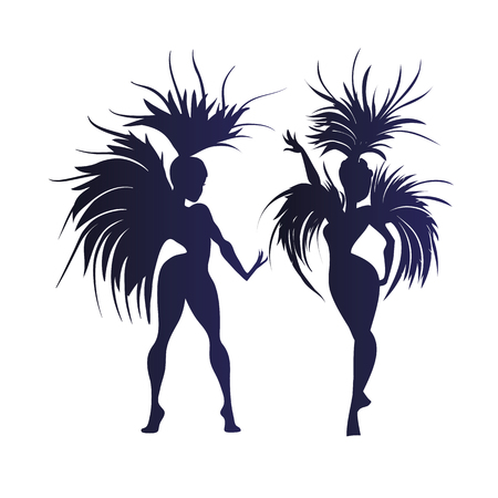 flat vintage background design dancing samba queen