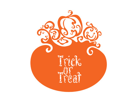 monsters house: Card background design with Boo, Trick or Treat letterind and symbols