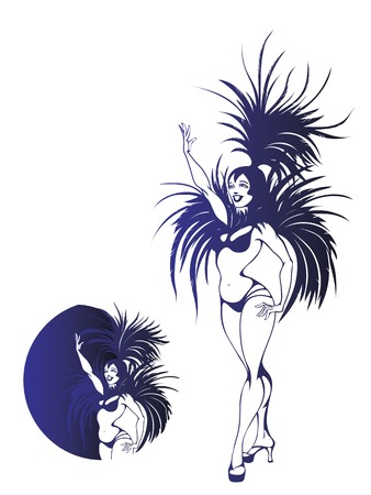 performers: flat vintage background design dancing samba queen