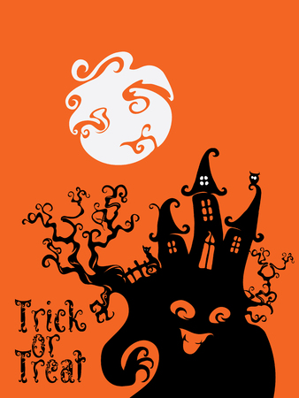 spooky house: Card background design with Spooky house, Trick or Treat letterind and Halloween symbols