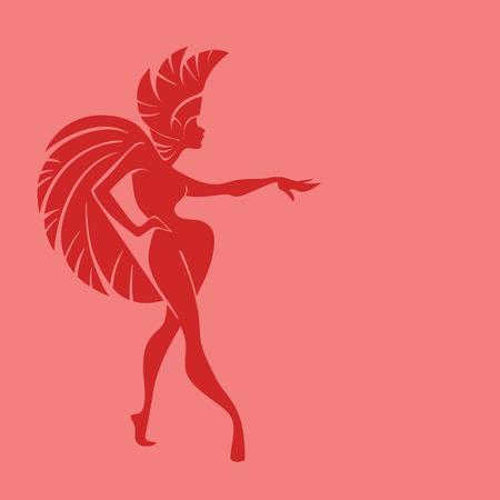 carnival costume: flat vintage background design dancing samba queen