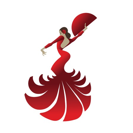 spectacular: flat design illustration with woman dancer flamenco in spectacular pose