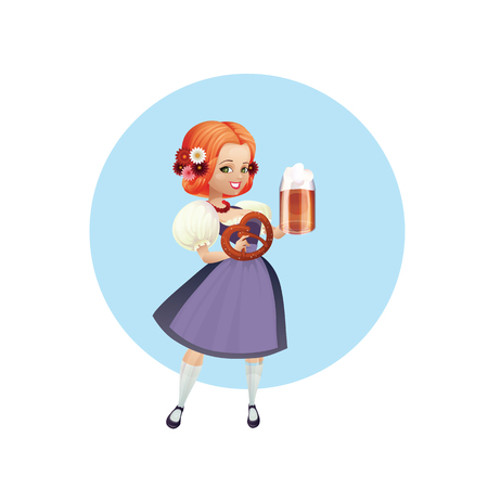 festively: Cartoon pinup character of a girl with beer and pretzel, spruced, festively dressed dirndl Illustration