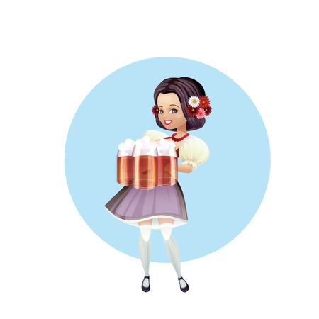 festively: Cartoon pinup character of a girl with beer festively dressed dirndl Illustration