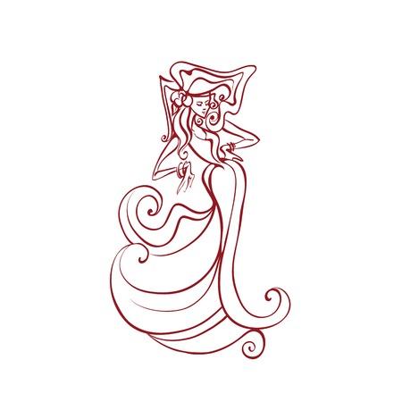 line work: line work illustration of flamenco performer in spectacular pose Illustration