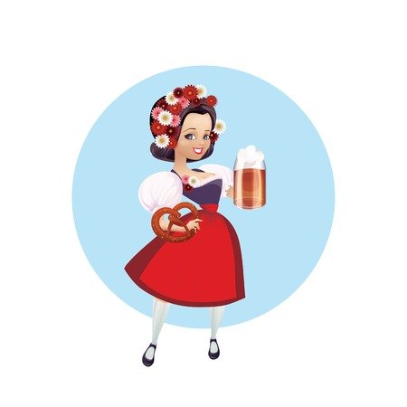 bretzel: Cartoon pinup character of a girl with beer and pretzel, spruced, festively dressed dirndl Illustration