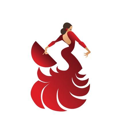 platte ontwerp illustratie met vrouw danser flamenco in spectaculaire pose Stock Illustratie