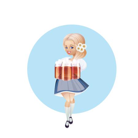 bretzel: Cartoon pinup character of a girl with beer festively dressed dirndl Illustration