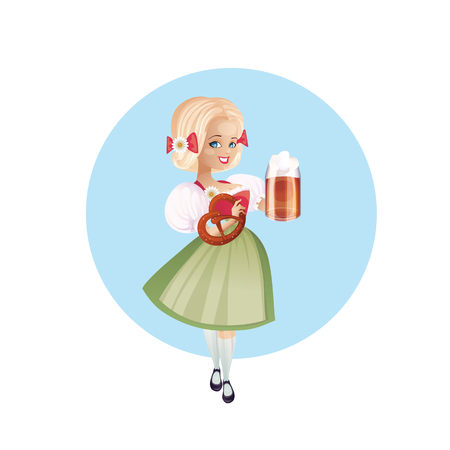 bretzel: Cartoon pinup character of a girl with beer festively dressed dirndl Illustration