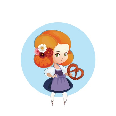 bretzel: Cartoon character of young female with bretzel of beer in hand,german national costume dirndl