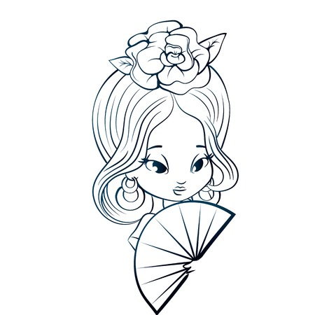 spanish fan: Chibi character girl in Spanish costume with rose hairstyle and fan. ink line, coloring oage
