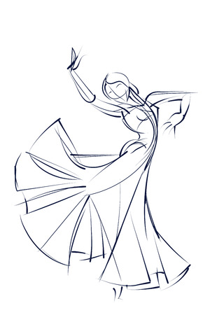 sketch drawing: line ink style sketch figure gesture drawing of dancer