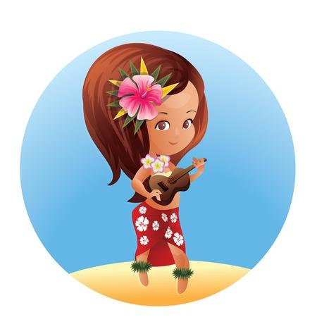 Cartoon character girl playing ukulele chibi kawaii style