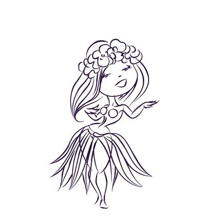 chibi: Cartoon character dancing Hula Hawaiian traditional danse in costume