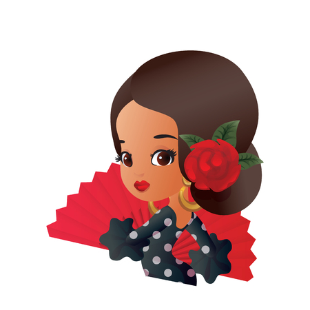 Chibi character girl in Spanish costume with rose hairstyle and fan