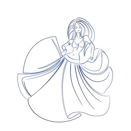 bellydancing: line ink style sketch figure gesture drawing of belly dancer Illustration