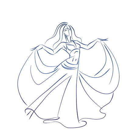 inking: line ink style sketch figure gesture drawing of belly dancer Stock Photo