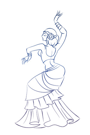 belly dancing: Gesture sketch line drawing of belly dancing woman