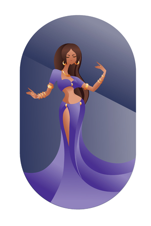 egyptian woman: flat geometric Art Deco styled design  illustration of eastern beauty belly dancer