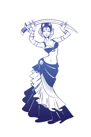 tribal dance: flat silhouette drawing of woman in expressive pose Illustration