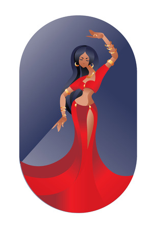 belly dancer: flat geometric Art Deco styled design  illustration of eastern beauty belly dancer