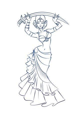 Gesto boceto dibujo lineal de la mujer danza del vientre