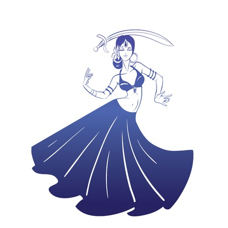bellydance: flat silhouette drawing of woman in expressive pose Illustration