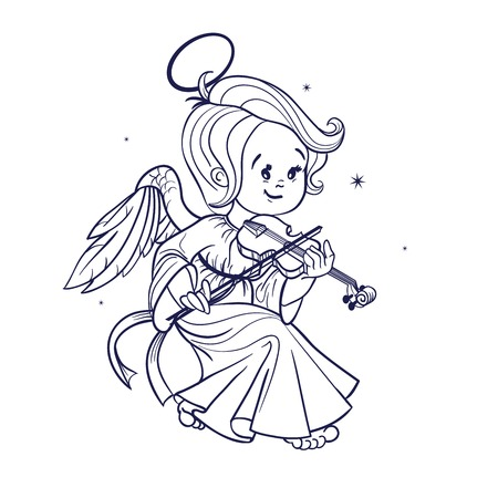violin making: Nicely and happy smiling cute baby Christmas angel making music playing violin. Cartoon style. Ink or etching Illustration