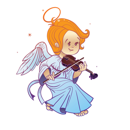 violin making: Nicely and happy smiling cute baby Christmas angel making music playing violin. Cartoon style.