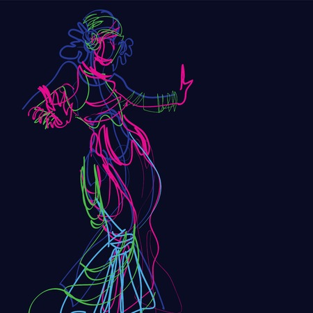 Dancer dance a tribal fusion gypsy dance Illustration