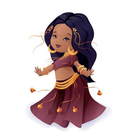 gypsy: Dancer dance a tribal fusion gypsy dance Illustration